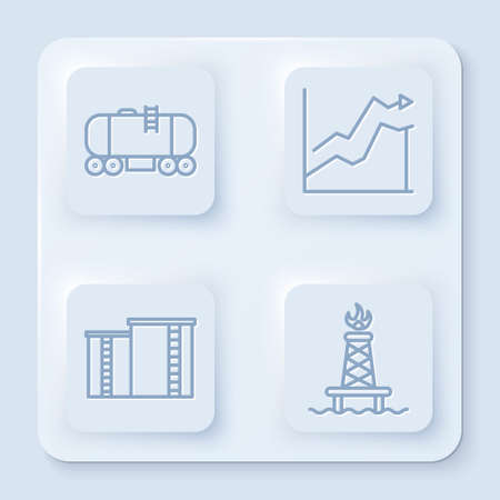 Set line Oil railway cistern, Oil price increase, Oil industrial factory building and Oil rig with fire. White square button. Vector.