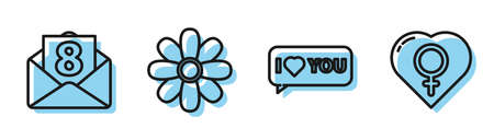 Set line Speech bubble with I love you, Envelope with 8 March, Flower and Female gender in heart icon. Vector.