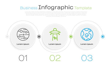 Set line Planet Mars, Planet and Earth globe. Business infographic template. Vector. Çizim