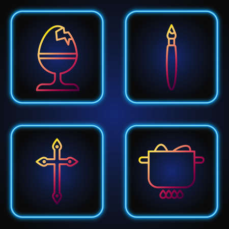Set line Egg in hot pot, Christian cross, Chicken egg on a stand and Paint brush. Gradient color icons. Vector.