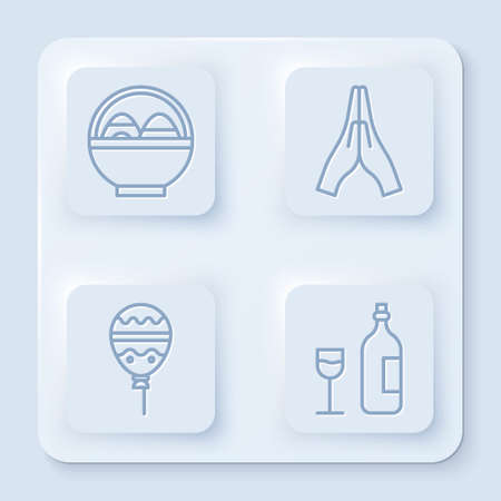 Set line Basket with easter eggs, Hands in praying position, Balloons with ribbon and Wine bottle with glass. White square button. Vector. Çizim