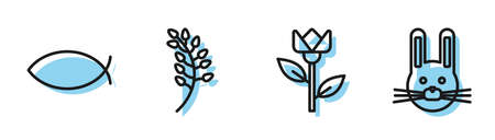 Set line Flower tulip, Christian fish, Willow leaf and Easter rabbit icon. Vector.