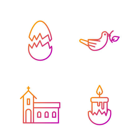 Set line Burning candle, Church building, Broken egg and Peace dove with olive branch. Gradient color icons. Vector.