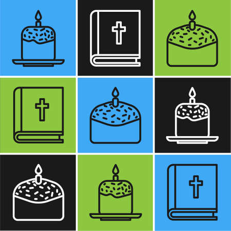 Set line Easter cake and candle, Easter cake and candle and Holy bible book icon. Vector.