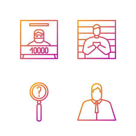 Set line Lawyer, attorney, jurist, Magnifying glass with search, Wanted poster and Suspect criminal. Gradient color icons. Vector
