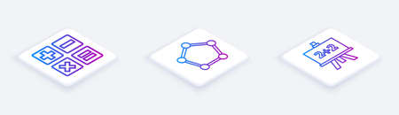 Set Isometric line Feather and inkwell, Geometric figure Sphere and Calculator. White square button. Vector.
