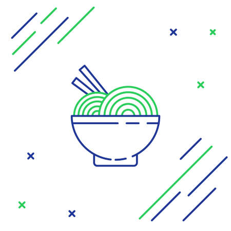 Line Asian noodles in bowl and chopsticks icon isolated on white background. Street fast food. Korean, Japanese, Chinese food. Colorful outline concept. Vector.