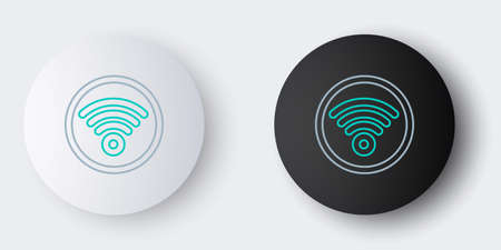 Line WiFi wireless internet network symbol icon isolated on grey background. Colorful outline concept. Vector.