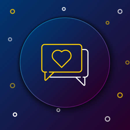 Line Like and heart icon isolated on blue background. Counter Notification Icon. Follower Insta. Colorful outline concept. Vector.