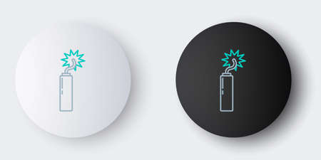 Line Detonate dynamite bomb stick clock icon isolated on grey background. Time bomb - explosion danger concept. Colorful outline concept. Vector. 일러스트