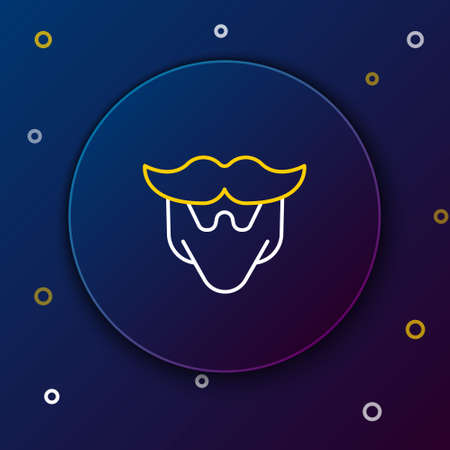 Line Mustache and beard icon isolated on blue background. Barbershop symbol. Facial hair style. Colorful outline concept. Vector.