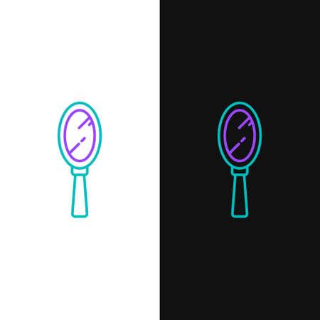 Line Magic hand mirror icon isolated on white and black background. Colorful outline concept. Vector. 向量圖像