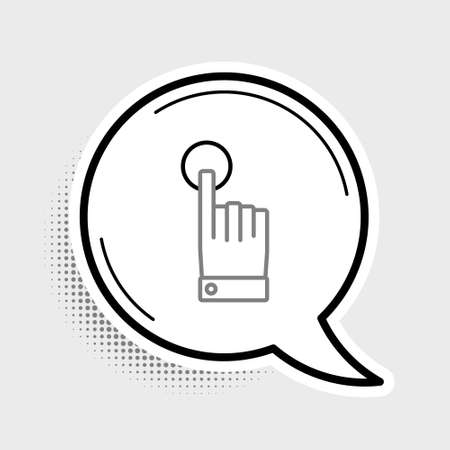 Line Hand touch and tap gesture icon isolated on grey background. Click here, finger, touch, pointer, cursor, mouse symbol. Colorful outline concept. Vector.