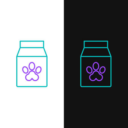 Line Bag of food for pet icon isolated on white and black background. Food for animals. Pet food package. Dog or cat paw print. Colorful outline concept. Vector. Çizim
