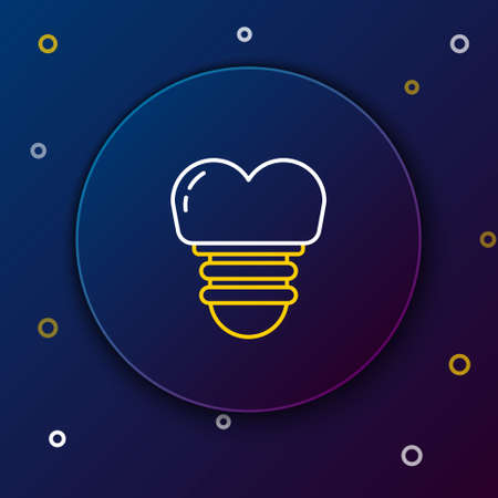 Line Dental implant icon isolated on blue background. Colorful outline concept. Vector.
