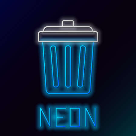 Glowing neon line Trash can icon isolated on black background. Garbage bin sign. Recycle basket icon. Office trash icon. Colorful outline concept. Vector. Ilustrace