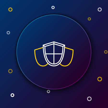 Line Shield icon isolated on blue background. Guard sign. Security, safety, protection, privacy concept. Colorful outline concept. Vector.