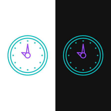 Line Clock icon isolated on white and black background. Time symbol. Colorful outline concept. Vector.