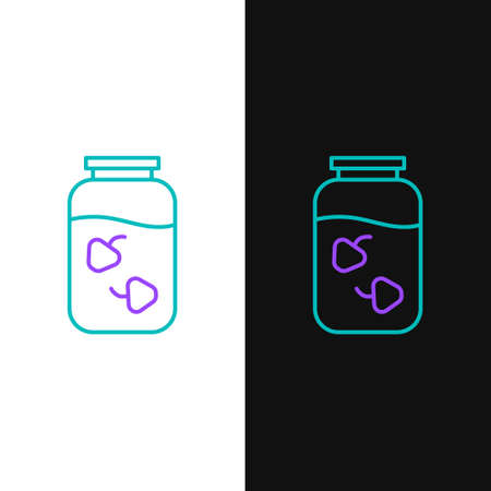 Line Strawberry jam jar icon isolated on white and black background. Colorful outline concept. Vector. 일러스트