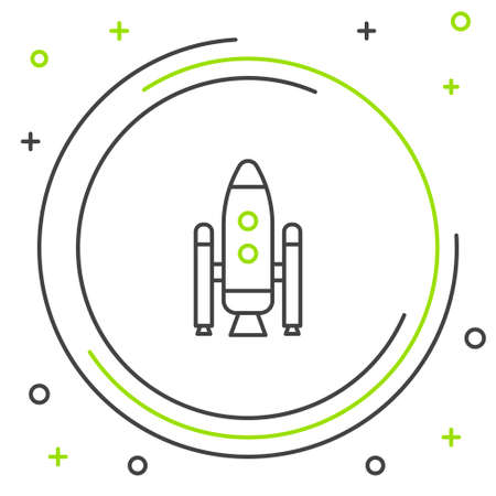 Line Space shuttle and rockets icon isolated on white background. Colorful outline concept. Vector.