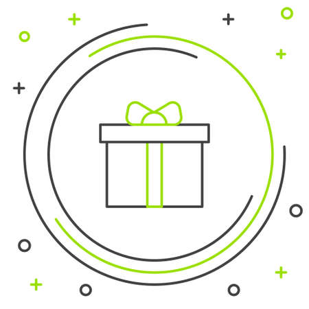 Line Gift box icon isolated on white background. Happy Birthday. Colorful outline concept. Vector.