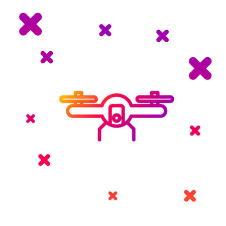 Color line Drone flying icon isolated on white background. Quadrocopter with video and photo camera symbol. Gradient random dynamic shapes. Vector Illustration.