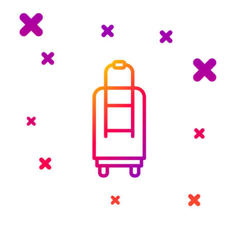Color line Suitcase for travel icon isolated on white background. Traveling baggage sign. Travel luggage icon. Gradient random dynamic shapes. Vector Illustration. Illusztráció