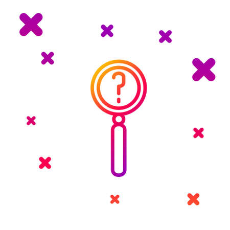 Color line Magnifying glass with search icon isolated on white background. Detective is investigating. Gradient random dynamic shapes. Vector Illustration.