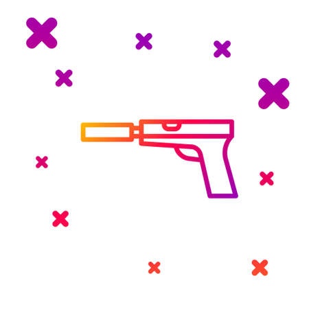 Color line Pistol or gun with silencer icon isolated on white background. Gradient random dynamic shapes. Vector Illustration. Illusztráció