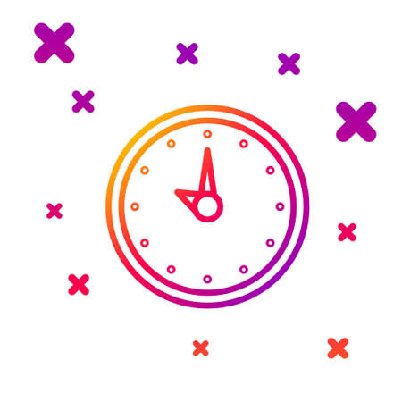 Color line Clock icon isolated on white background. Time symbol. Gradient random dynamic shapes. Vector Illustration.