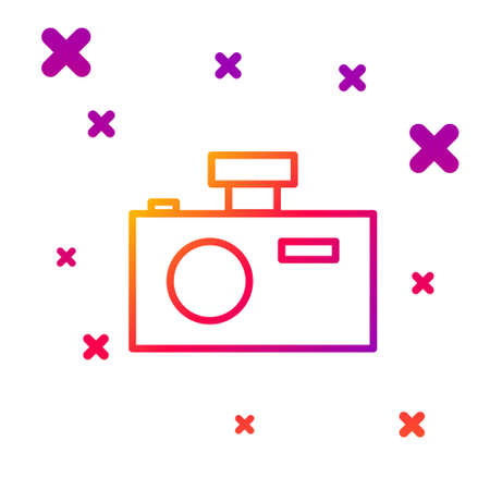 Color line Photo camera icon isolated on white background. Foto camera icon. Gradient random dynamic shapes. Vector Illustration.