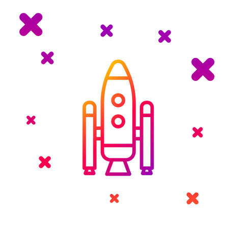 Color line Space shuttle and rockets icon isolated on white background. Gradient random dynamic shapes. Vector Illustration.