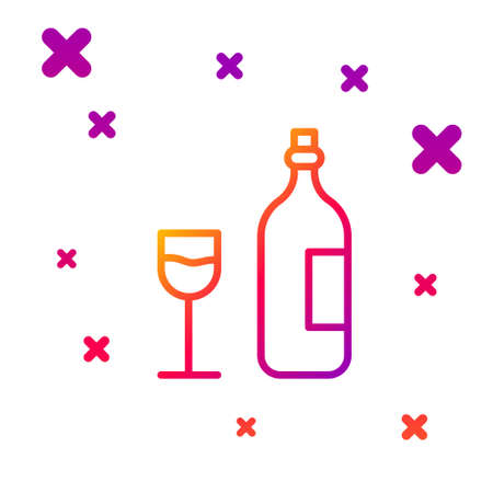 Color line Wine bottle with wine glass icon isolated on white background. Happy Easter. Gradient random dynamic shapes. Vector Illustration.