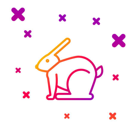 Color line Easter rabbit icon isolated on white background. Easter Bunny. Gradient random dynamic shapes. Vector Illustration.