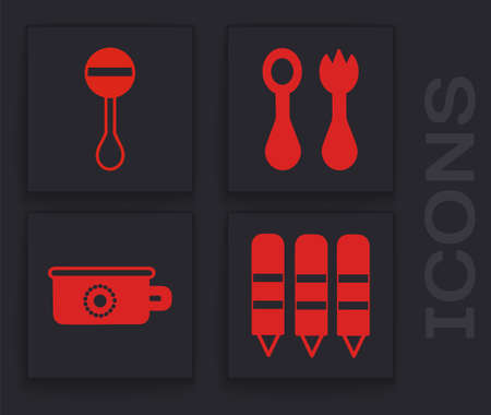 Set Wax crayons for drawing, Rattle baby toy, Baby cutlery with fork and spoon and Baby potty icon. Vector.