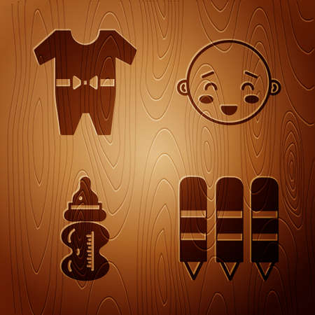 Set Wax crayons for drawing, Baby clothes, Baby bottle and Happy little boy head on wooden background. Vector.