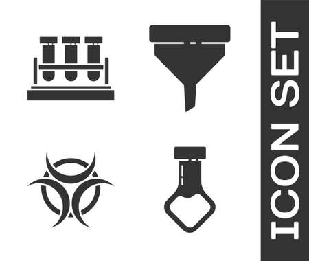 Set Test tube and flask chemical, Test tube and flask chemical, Biohazard symbol and Funnel or filter icon. Vector.
