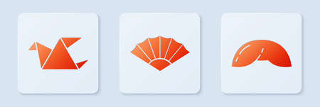 Set Paper chinese or japanese folding fan, Origami bird and Chinese fortune cookie. White square button. Vector.