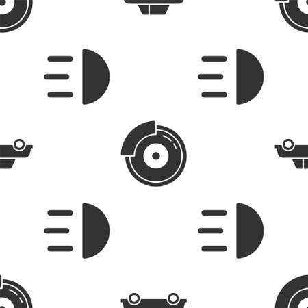 Set Car, Car brake disk with caliper and High beam on seamless pattern. Vector.