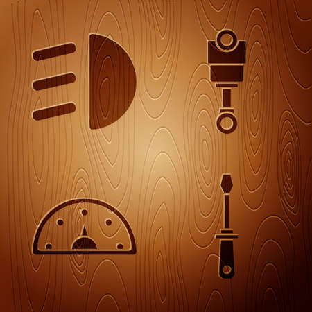 Set Screwdriver, High beam, Speedometer and Engine piston on wooden background. Vector.