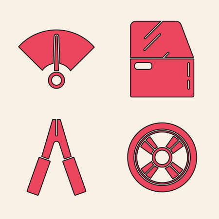 Set Car wheel, Speedometer, Car door and Car battery jumper power cable icon. Vector.
