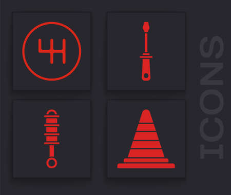 Set Traffic cone, Gear shifter, Screwdriver and Shock absorber icon. Vector.