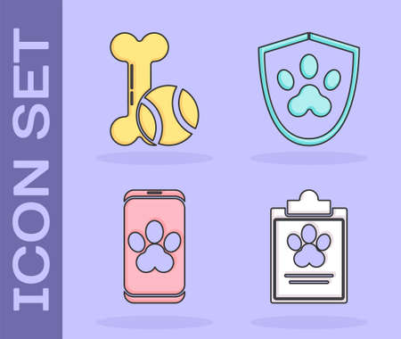 Set Clipboard with medical clinical record pet, Pet toys bone rubber and ball, Online veterinary clinic symbol and Animal health insurance icon. Vector.