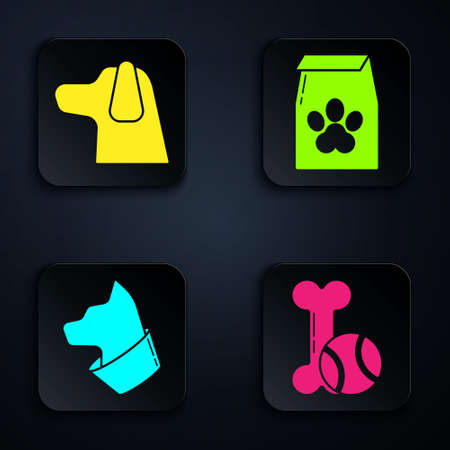 Set Pet toys bone rubber and ball, Dog, Cat and Bag of food for pet. Black square button. Vector.