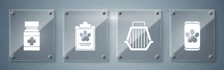 Set Online veterinary clinic symbol, Pet carry case, Clipboard with medical clinical record pet and Dog medicine bottle and pills. Square glass panels. Vector. Stock Illustratie