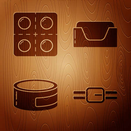 Set Collar with name tag, Dog and pills, Canned food and Pet bed on wooden background. Vector.