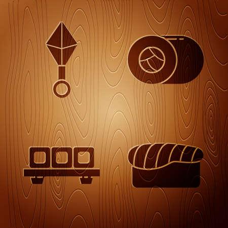 Set Sushi, Japanese ninja shuriken, Sushi on cutting board and Sushi on wooden background. Vector. Ilustrace