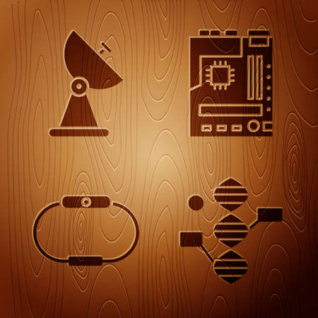 Set DNA symbol, Radar, Smartwatch and Motherboard on wooden background. Vector.