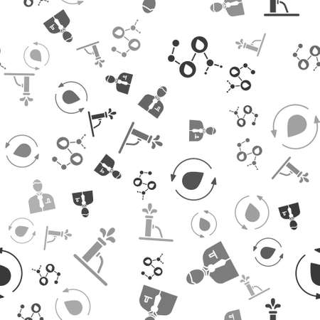 Set Molecule oil, Businessman or stock market trader, Oil drop and Oil pump or pump jack on seamless pattern. Vector.