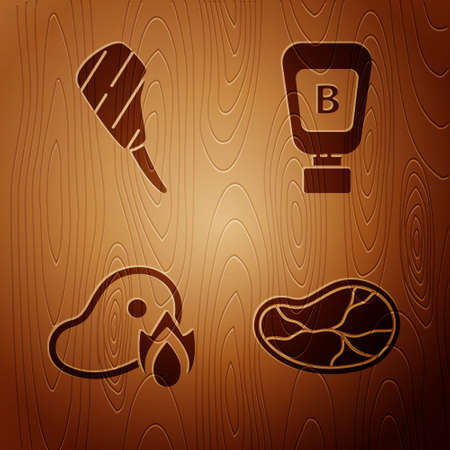 Set Steak meat, Rib eye steak, Grilled steak meat and fire flame and Sauce bottle on wooden background. Vector. Ilustracja
